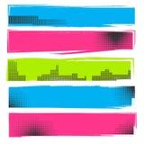 Satz Hand gezeichnete Pinsel und Tintengestaltungselemente, kreative Formen des schmutzigen Anschlags des Schmutzes vector Illust Lizenzfreie Stockfotografie