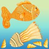 Satz Hand gezeichnete Quallen, Fische, Schnecke gemacht von den einfachen Gekritzeln Lizenzfreies Stockbild