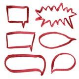 Satz Hand gezeichnete rote Markierungsblasen Vektor Abbildung