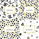 Satz Hand gezeichnete schwarze und gelbe abstrakte Hintergründe mit den Bürstenanschlägen und geometrischen Formen gemacht in der stock abbildung