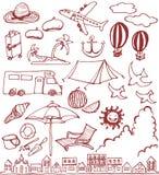 Satz Hand gezeichnete Sommerikonen lizenzfreie abbildung
