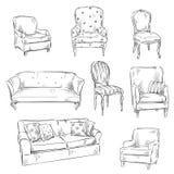 Satz Hand gezeichnete Stühle und Sofas, Vektorillustration Stockfotografie