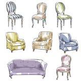 Satz Hand gezeichnete Stühle und Sofas, Vektorillustration Lizenzfreie Stockfotos