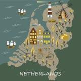 Satz Hand gezeichnete Vektorgekritzel von Amsterdam, die Niederlande lizenzfreie abbildung