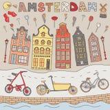 Satz Hand gezeichnete Vektorgekritzel von Amsterdam, die Niederlande Lizenzfreies Stockfoto