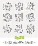 Satz Hand gezeichnete verschiedene Güsse stock abbildung