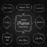 Satz Hand gezeichnete Weinleserahmen auf Tafel Lizenzfreie Stockfotografie