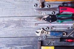 Satz Handalte Werkzeuge stockfotos
