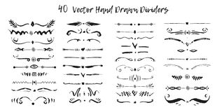 Satz handdrawn Verteilungsgrenzen in der Tinte Strudel und Teiler für Design Schwarze stilvolle Grenze des Vektors vektor abbildung