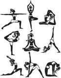 Satz Handeln von Yogahaltungen Lizenzfreies Stockfoto