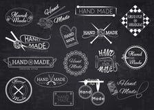 Satz handgemachte Aufkleber, Ausweise und Logos für Lizenzfreie Stockbilder