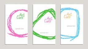 Satz handgemachte Geschäftsbeispielkarten mit Handzeichnungsbeschaffenheiten auf Weiß stock abbildung
