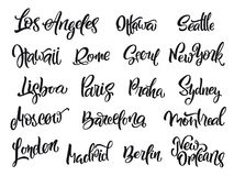 Satz handgeschriebene Stadtnamen London, Paris, Berlin, Madrid, New York, Moskau, Barcelona Stockfotografie