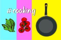 Satz Handgezogene Karikatur-Grünkräuter, Brunch von fünf roten Kirschtomaten und Draufsicht der Bratpfanne lizenzfreie abbildung