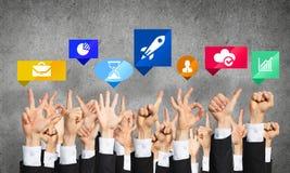 Satz Handzeichen und Ikonen Lizenzfreie Stockfotos