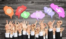 Satz Handzeichen und Ikonen Lizenzfreie Stockbilder