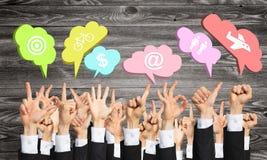 Satz Handzeichen und Ikonen Lizenzfreies Stockbild