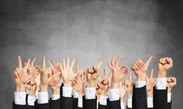 Satz Handzeichen und Ikonen Stockfoto