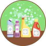 Satz Haushaltsversorgungen Gruppe Reinigungsmittel im Regal Minimale flache Vektorgrafik Ikone für reinigende Plastikflaschen bet Lizenzfreie Stockfotografie