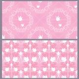 Satz Heirat des nahtlosen Musters - Blumenverzierung mit Hochzeit Lizenzfreies Stockfoto
