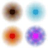 Satz helle abstrakte Kreis-Rahmen-Gestaltungselemente Perfekte Halbtone auf einem weißen Hintergrund für Ihr Design Stockbild