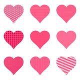 Satz helle Herzen mit Muster, Illustration stock abbildung