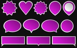 Satz helle rosa Aufkleber auf dunklem Hintergrund verschieden Stockfotos