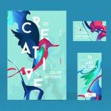 Satz helle Tinte mit abstraktem Vogel für ein anderes Design Stockfotos