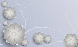 Satz hellgraue Blumen auf grauem Hintergrund Lizenzfreie Abbildung