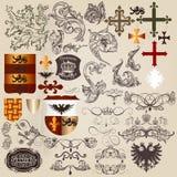 Satz heraldische Elemente des Vektors in der Weinleseart Lizenzfreie Stockfotografie