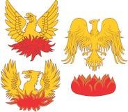 Satz heraldische Phoenix-Vögel Stockbilder