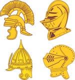 Satz heraldische Sturzhelme - mittelalterlich, alt, orientalisch Stockfotos