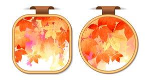 Satz Herbstaufkleberaufkleber Stockfoto