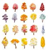 Satz Herbstbäume Hand gezeichnete Aquarellillustration Stockfotografie