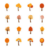 Satz Herbstbäume, Illustration Stockfotografie