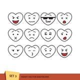 Satz Herz Emoticons Lizenzfreie Stockbilder
