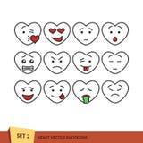 Satz Herz Emoticons Stockfoto