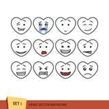 Satz Herz Emoticons Stockbild