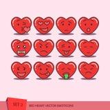 Satz Herz Emoticons Lizenzfreies Stockbild