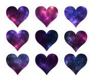Satz Herzen formt mit kosmischer Beschaffenheit nach innen auf weißem Hintergrund Stockbilder