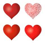 Satz Herzen mit einem Muster Stockfotos