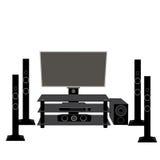 Satz HIFIunterhaltungselektronik: Fernsehen und Audiogeräte 5 1 Stockfoto
