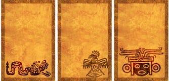 Satz Hintergründe mit indianischen nationalen Mustern Stockbilder