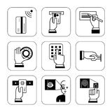Satz Hinweiszeichen für Sicherheitssysteme in Banken, explanat Lizenzfreie Stockbilder