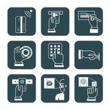 Satz Hinweiszeichen für Sicherheitssysteme in Banken, explanat Lizenzfreie Stockfotos