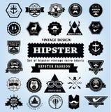 Satz Hippie-Artelementaufkleber und -ikonen Stockfotos