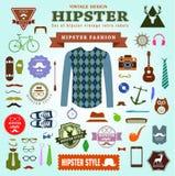 Satz Hippie-Artelementaufkleber und -ikonen Lizenzfreie Stockfotografie