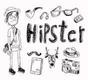 Satz Hippie-Artelemente Stockbild
