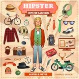 Satz Hippie-Artelemente, -aufkleber und -ikonen Stockfotografie