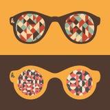Satz Hippie-Sonnenbrille mit Dreiecken und Halbrunden Lizenzfreies Stockfoto